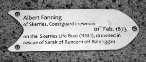 Memorial to Albert Fanning, Skerries Coast Guard boatman - featured on the Skerries Sea Memorial Pole at Red Island